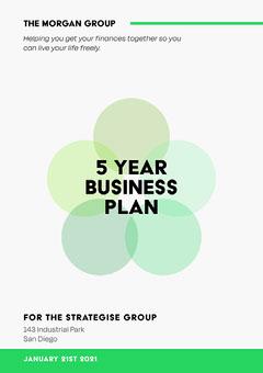 green white black 5 year business plan a4  Finance