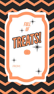 Orange Zig Zag Halloween Party Gift Tag Festa di Halloween