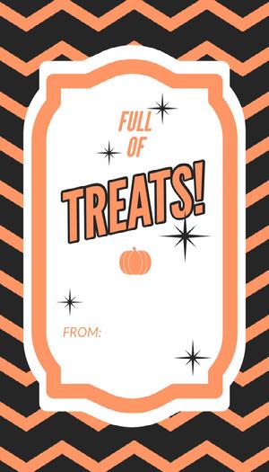 Orange Zig Zag Halloween Party Gift Tag Halloween Party