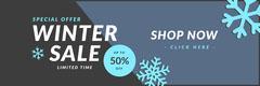 winter sale snow flake web banner Blue