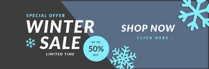 winter sale snow flake web banner Bannière de pub