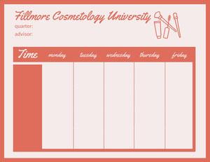 Orange Fillmore Cosmetology University Schedule Weekly Calendar