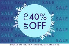 Blue Winter Sale Gradient Postcard Holiday Sale