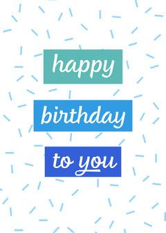 Blue Confetti Happy Birthday Card Confetti