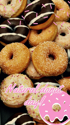 Pink and Brown Donut Day Snapchat Story with Photo Donut