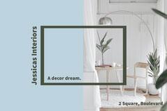 blue white home interiors store postcard Decor