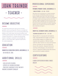 Purple and White, Light Toned Teacher Resume Document CV