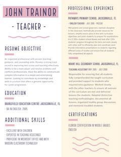 Purple and White, Light Toned Teacher Resume Document Teacher