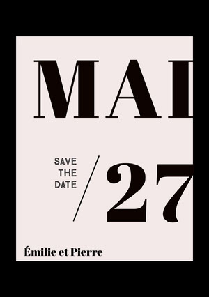black and white save the date card  Annonce de mariage