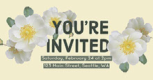 Pale Yellow Party or Event Invitation with Flowers and Address Convite
