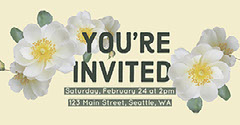Pale Yellow Party or Event Invitation with Flowers and Address Yellow