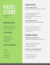 Green High School Student Graphic Artist Resume Curriculum scuola superiore