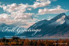 Light Toned Fall Greetings Landscape Card Lake