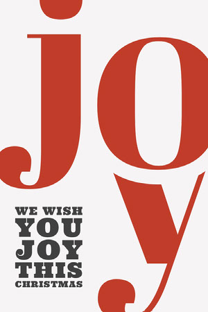 Claret and White Joy Holiday Card Typography Poster