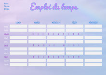 Purple Cloud Weekly Planner Timetable A4 Planning