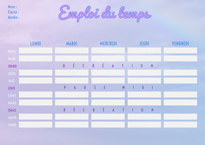 Purple Cloud Weekly Planner Timetable A4 Fiche d'exercices