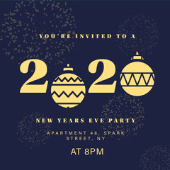 Blue and Yellow New Years Eve Party Invitation, Instagram Post Christmas Invitation