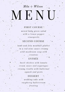 Black and White Wedding Menu Menu bruiloft