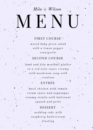 Black and White Wedding Menu Menú