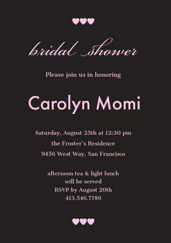 Black and Pink Bridal Shower Invitation Card with Hearts Heart
