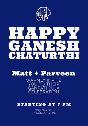 Blue Ganpati Invitation Griha Pravesh Invitation