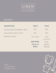 Violet and White Linen Clothing Receipt  Tax Flyer