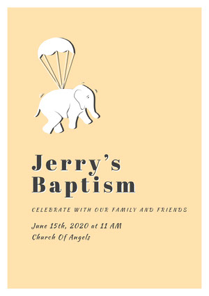 Yellow and Black Baptism Invitation Invitation de baptême