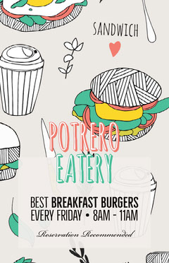 Illustrated Breakfast Burger Restaurant Flyer Breakfast