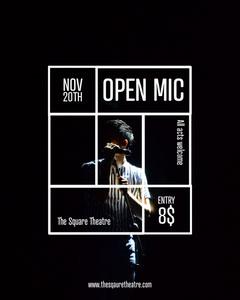 black white dark open mic night event instagram portrait  Talent Show Flyer