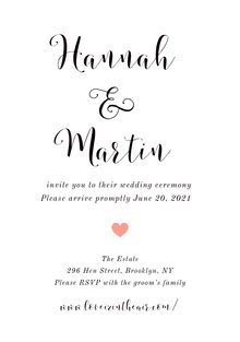 White and Black Wedding Invitation Bryllupskort