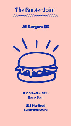 Blue and Pink Burger Offer Instagram Story Burger