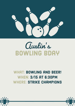 Blue and Beige Illustrated Bowling Birthday Party Invitation Card Bowling