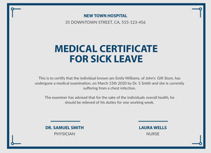 Blue, Light Toned Medical Certificate Document  Medical Certificate