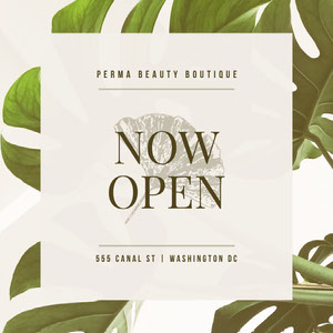 "White and Green Beauty Boutique Advertisement ""Wir sind offen"" -Plakate"