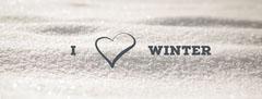 Black and White I Love Winter Facebook Profile Cover Heart