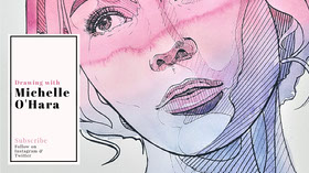 Pink and Blue Woman's Face Illustration Drawing Youtube Channel Art Banner do YouTube