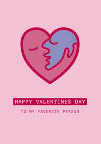 Pink Kiss Valentines Day Card Messages d'amour