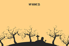 Yellow and Black Spooky Tree and Graveyard Halloween Party Name Tag Halloween Party Name Tag
