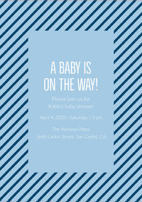 Blue and Striped Pattern Baby Shower Invitation Baby Shower