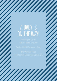 Blue and Striped Pattern Baby Shower Invitation Baby Shower (Boy)