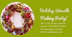 Green and White Cold Toned Wreath Making Party Facebook Banner Holiday Party Flyer