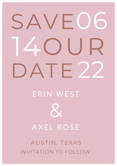 Pink Typographic Save the Date Wedding Card Typography