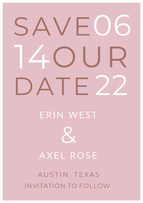 Pink Typographic Save the Date Wedding Card Save the date-kaart