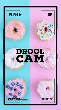 Pink and Blue Pastel Color Funny Bakery Ad Instagram Story Donut