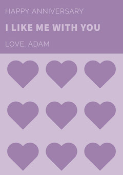 Purple Happy Marriage Anniversary Card with Hearts Heart