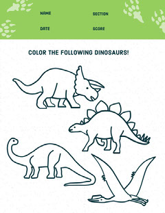 dinosaur coloring worksheet  Education