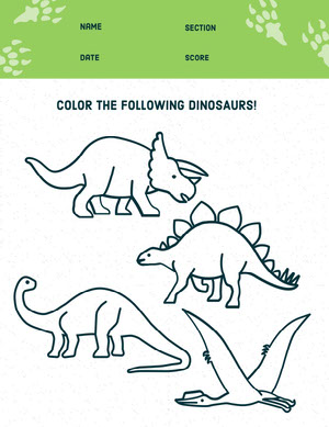 Green Dinosaur Coloring School Worksheet Hoja de cálculo