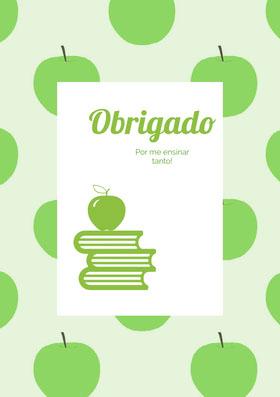 apple patterned thank you cards  Cartão de agradecimento