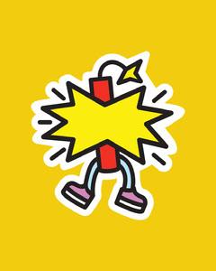 Yellow, Flashy, Dynamite Sticker Instagram Portrait Jokes