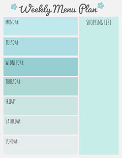 Light Blue Weekly Meal Planner with Shopping List Blue
